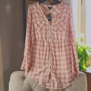 Plaid Challis Babydoll Button up Blouse light pink